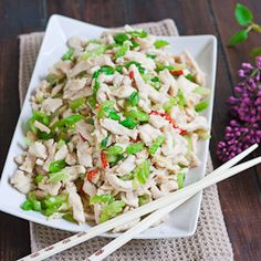 Shredded Chicken with Celery - the tender chicken breast contrasts with the crunchy texture of the celery, and the red chilies add color and flavor.