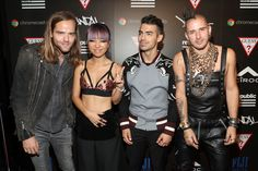 Jack Lawless, JinJoo Lee, Joe Jonas and Cole Whittle of DNCE at the GUESS x Republic Records VMAs After Party