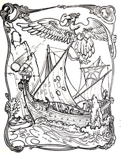 Simbad journey, From the gallery : Myths & Legends, I love the wave borders adn the detail in the ship! A really cool coloring page. Pumpkin Coloring Pages, Cool Coloring Pages, Adult Coloring Pages, Coloring Books, Vampires, Dragons, Sea Pirates, Zen Colors, Sinbad