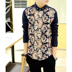 Stylish Shirt Collar Slimming Ethnic Pattern Splicing Long Sleeve Men's Cotton Shirt, AS THE PICTURE, M in Shirts | DressLily.com