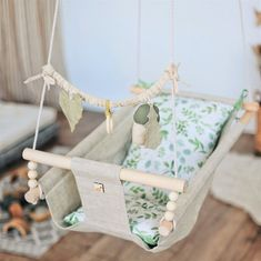 Baby mobile to the cradle rustling toy for baby hanging Handgemachtes Baby, Baby Play, Baby Toys, Baby Hammock, Baby Swings, Hanging Cradle, Wooden Cradle, Baby Diy Projects, Baby Mobile