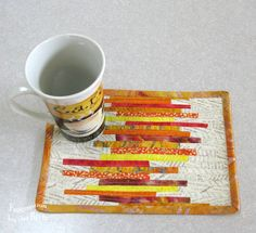 Orange batik mug rug at Freemotion by the River