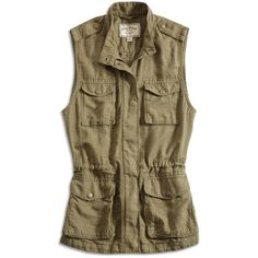 Lucky Brand Military Vest (78 AUD) ❤ liked on Polyvore featuring outerwear, vests, military vest, pocket vest, zip vest, lightweight vest and long sleeve vest