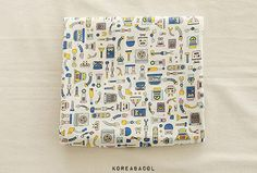 Small Robot Fabric Small Robot Pattern 44x35 100% by KoreaBacol