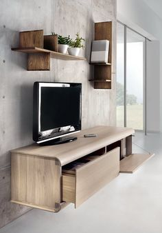 Wall shelves wood / mueble tv suspendido madera acabado rustico