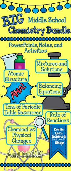 Big Chemistry Bundle for Middle School from Kristin Lee's Science (and more!) Shop on TeachersPayTeachers. PowerPoints, Notes, and Activities on a variety of chemistry topics including Chemical Equations, Mixtures and Solutions, Chemical/Physical Changes, Atomic Structure, etc. Updates are downloadable by buyers without paying the increased price!
