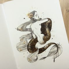 """My new zine """"Pyrite"""" is available on my shop, and. Easy Cartoon Drawings, Cool Art Drawings, Mermaid Drawings, Mermaid Art, Sun And Moon Drawings, Gold Drawing, Character Art, Character Design, Notebook Art"""