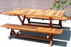 6-Foot Rectangular Folding Table with Two Folding Benches, Boards Going in Same Direction with Seamless Tabletop - Old-Growth and Mature Redwood