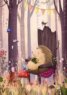 Hedgehog's reading nook by Lucy Fleming Art And Illustration, Hedgehog Illustration, Illustration Inspiration, Hedgehog Art, Art Graphique, Graphic, Cute Art, Book Art, Artsy