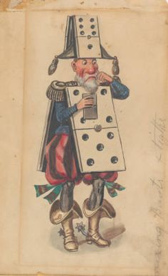 """Costume design by Charles Briton shows man in domino costume, for 1882 """"Pursuit of Pleasure"""" Rex parade, float #16 """"The Pleasures of the Potent Pack--Domino!"""""""