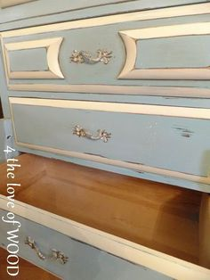 From plain brown to a lovely shade of blue with ivory trim. 4 the love of wood: SECOND HAND FURITURE LEGS - tiffany blue dresser