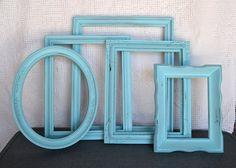 Aqua Painted Frame Set of 5 - Upcycled frames