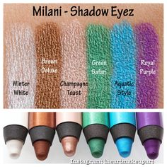 Milani shadow eyez 12hr wear eyeshadow pencil swatches. I have both in the middle (03 Champagne Toast and 04 Green Safari)