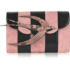 Miu Miu Bird Suede And Python Clutch ($685) ❤ liked on Polyvore featuring bags, handbags, clutches, purses, miu miu, bolsas, women, bird purse, python purse and striped handbag