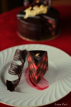An utterly chic red Red Velvet Checkerboard Cake. #food #red #velvet #cake #checkerboard #chocolate #dessert #Valentines