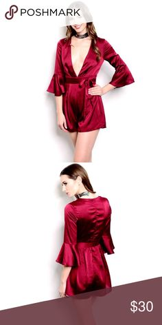 """SALE ⚡️Red Romper Available in Small, medium & Large. Made of 100% polyester,                          L:31""""  B:28""""   W:22""""  IS: 3""""   Comment below 👇🏼 for more questions ❤️️❤️️❤️️ Dresses Long Sleeve"""