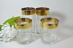 Gold Rim Barware Glasses  Set of Four  High Ball by DinneratSeven