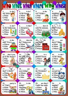 who what when where why whose worksheet English Teaching Materials, Learning English For Kids, Teaching English Grammar, English Lessons For Kids, English Worksheets For Kids, Learn English Words, Grammar Lessons, English Vocabulary, English Activities