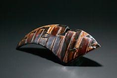 飴釉刻文花器 Vase with engraved, amber glaze 2014