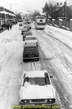 Traffic queuing on City Road during snow Sources Of Iron, Triumph Spitfire, Sheffield England, City Road, Local History, Derbyshire, Coventry, Cemetery, Yorkshire