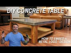 How To Make A Concrete Table And Embed A Metal Design