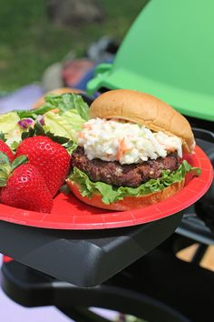 These Black and Blue Burgers feature spicy blackened seasoning and cool, creamy blue cheese cole slaw for a flavor combination you're sure to love. Just 334 calories or 9 Weight Watchers points each! www.emilybites.com