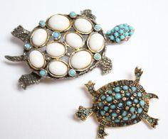 Vintage Hattie Carnegie Turquoise Turtle Brooch Pin Lot of 2 #HattieCarnegie