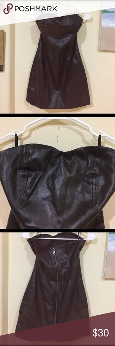 Zara basic black strapless faux leather dress Gently worn , size L , zipper closure , 25 inches from top to bottom , 14 inches across waist Zara Dresses Strapless