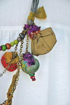 hand made textile jewlery .fabric jewlry.colorfull fabric necklace. Orna Amar