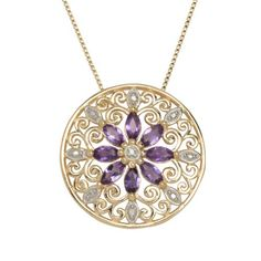 """$35.00 18k Yellow Gold Plated Sterling Silver African Amethyst and Diamond Accent Medallion Pendant Necklace, 18"""""""