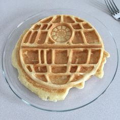 """kdscreatures: """"Sunday means Death Star waffle day... He's actually humming the imperial march while pouring maple syrup #deathstar #waffles #sunday #breakfast #darkside #usetheforce"""""""