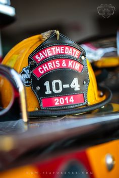 Save the date-firefighter style! I think it's a really cute idea if the couple were in the background of the picture!