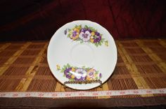 CLARENCE BONE CHINA Made in England Purple and Yellow Floral Saucer  5 1/2'