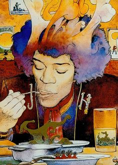 JIMI HENDRIX by Moebius... Moebius did a series of drawings of Jimi back in the day.. but I always liked this one..he seems to be enjoying some serious VOODOO CHILI!. mmmmm.