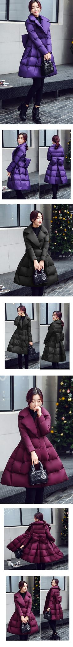 A-Line Long Coat with a Bow in the back  (APOENGE)