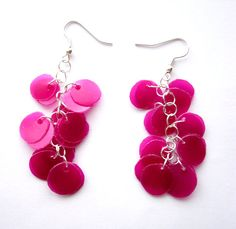 Recycled Plastic Bottle Pink Magenta Earrings Jewelry  @dekoprojects