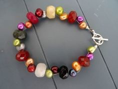 Pearl and Faceted Mixed Gemstone Bracelet £9.00