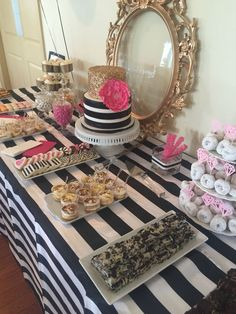 Kate Spade Bridal Shower Table New Ideas Kate Spade Party, Kate Spade Bridal, Kate Spade Cake, Deco Buffet, Bridal Shower Desserts, Brunch Decor, Brunch Table, Party Decoration, Before Wedding