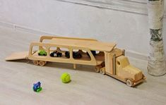 Wood car truck trailer Montessori toy for boys Children's organic toy Kids educational model Learning toy Wooden truck Birthday gift idea #woodentoys