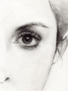 I love this black and white painted image, it shows only half of the face giving it a mysterious look.