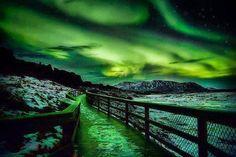 Aurora onweer in Thingvellir National Park, IJsland Aurora Borealis, Beautiful Sky, Beautiful World, Places Around The World, Around The Worlds, Skier, Thingvellir National Park, See The Northern Lights, Foto Art
