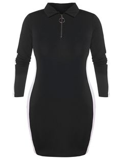 dc20b40f026   34% OFF   2018 O Ring Zip Plus Size Bodycon Dress In Black 5x