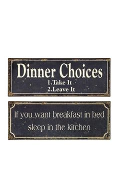 so cute! Breakfast & Dinner Signs - Set of 2 by Vintage Decor Revamp on @HauteLook