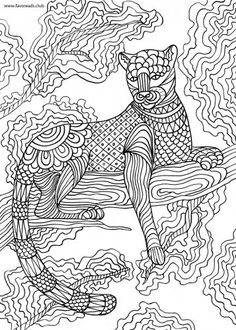 Panther printable adult coloring page