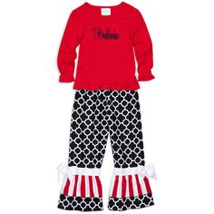 Girls Black Lattice Red Stripe Pant – Lolly Wolly Doodle