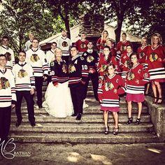 Wedding party in hockey jerseys.definitely NOT the Blackhawks Hockey Baby, Ice Hockey, Blackhawks Hockey, Chicago Blackhawks, Hockey Wedding, Never Stop Dreaming, Wedding Pictures, Wedding Ideas, Wedding Themes