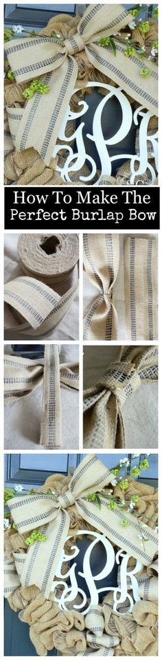HOW TO MAKE THEIR PERFECT BURLAP WEBBING BOW So easy and step by step instructions
