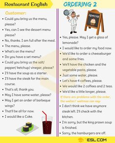 Restaurant English: Useful Expressions Used at a Restaurant - 7 E S L English Conversation Learning, English Learning Spoken, English Language Learning, Teaching English, German Language, French Language, English Vocabulary Words, English Phrases, Learn English Words
