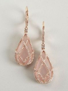 Blush Pink Rose Gold Earrings .