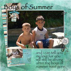 julie's boys, digital layout by deann
